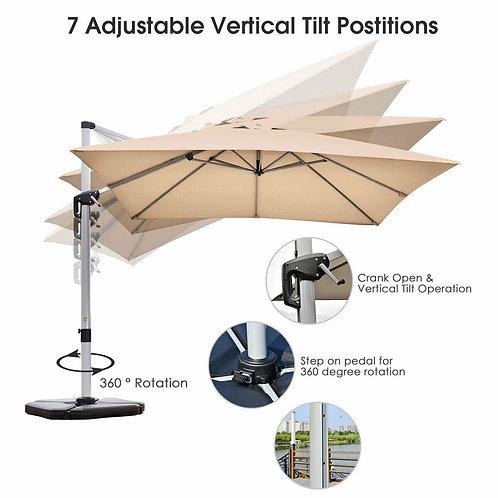 10 Ft 360 Degree Tilt Aluminum Square Patio Offset Cantilever Umbrella-Beige