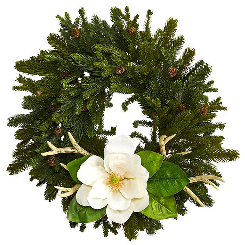 """22"""" Pine, Pinecone, Magnolia and Antler Artificial Wreath"""