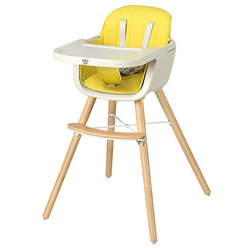 3 in 1 Convertible Wooden High Chair with Cushion-Yellow