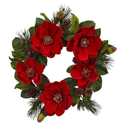 """24""""  Red Magnolia & Pine Wreath"""