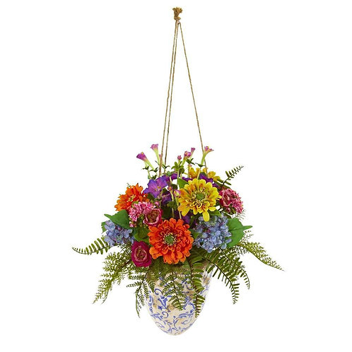 "29""  Mixed Flowers Artificial Plant in Hanging Vase"