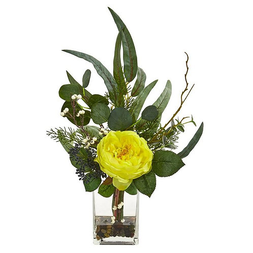 "21""  Rose and Eucalyptus Artificial Arrangement"