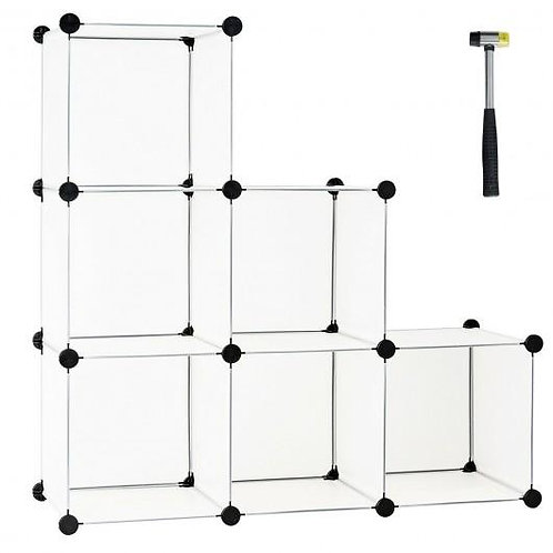 6 Cube Plastic Storage Organizer -White