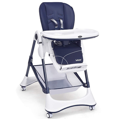 A-Shaped High Chair with 4 Lockable Wheels-Navy
