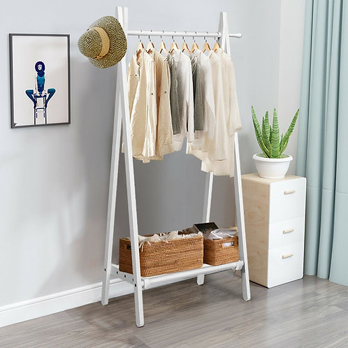 A-Frame Wood Clothing Hanging Rack with Storage Shelf-White