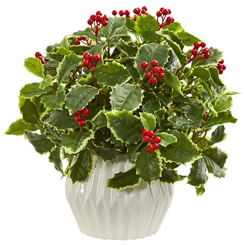 15' Holly Leaf Artificial Plant in White Vase (Real Touch)