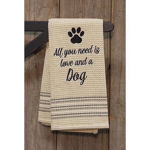 Love & Dog Dish Towel 20x28