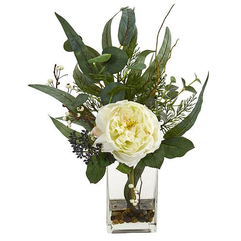 "21""  Rose and Eucalyptus Artificial Arrangement"