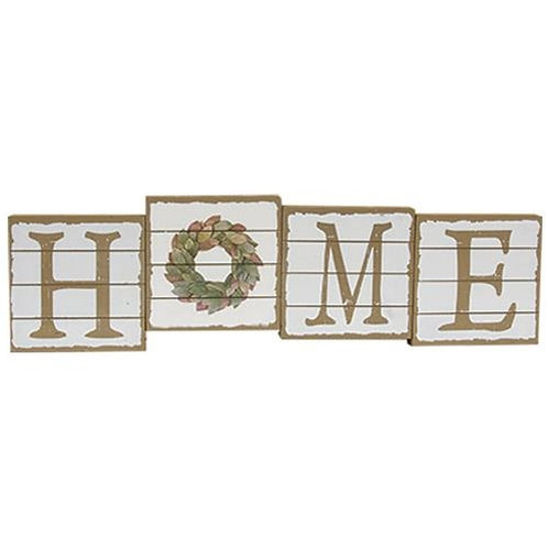 Pack of 2 Home Block Sitter w/ Wreath