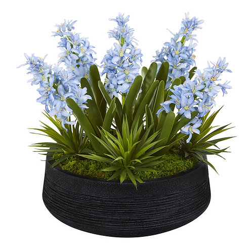 """14"""" Hyacinth and Succulent Artificial Plant in Decorative Bowl"""