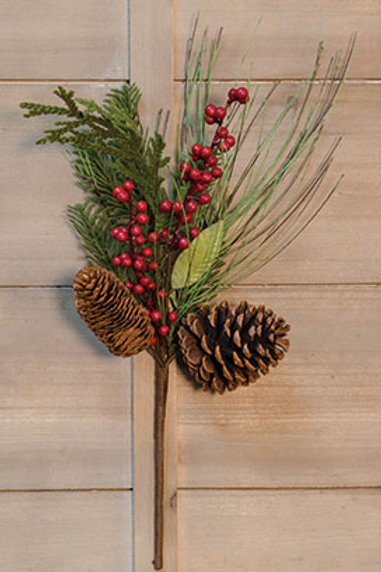 Berry Pinecone Pick 18""