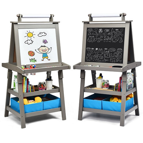 3 in 1 Double-Sided Storage Art Easel-Gray