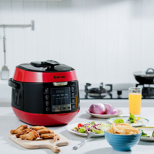 12-in-1 Multi-use Programmable Electric Pressure Cooker Non-stick Pot-Red