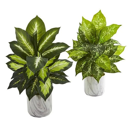 Dieffenbachia Artificial Plant in Marble Finish Planter (Set of 2)
