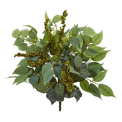"14""  Mixed Ficus, Fittonia and Berries Bush Artificial Plant (Set of 6)"