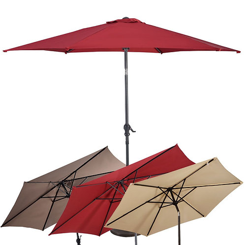10FT Patio Umbrella 6 Ribs Market Steel Tilt W/ Crank Outdoor Garden-Burgundy