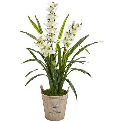 """47""""  Cymbidium Orchid Artificial Plant in Farmhouse Planter"""