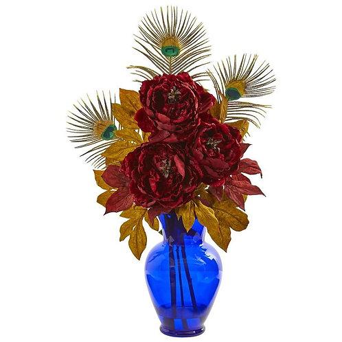 Peony in Blue Vase Artificial Arrangement