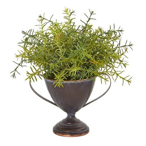 "14""  Rosemary Artificial Plant in Metal Goblet"