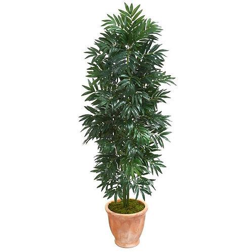 5' Bamboo Palm Artificial Plant in Terra cotta Planter