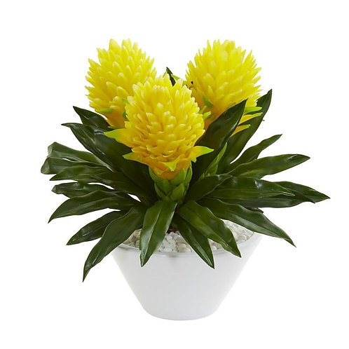 """17""""  Ginger Artificial Plant in White Vase"""