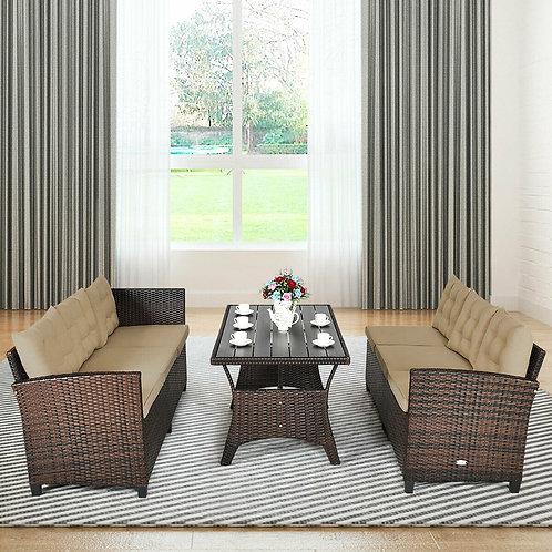 3 Pcs Rattan Dining Set Patio Furniture Sofa with Cushions