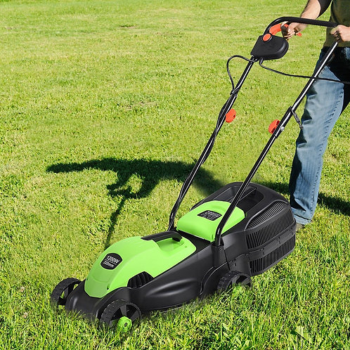 """14"""" Electric Push Lawn Corded Mower with Grass Bag-Green"""
