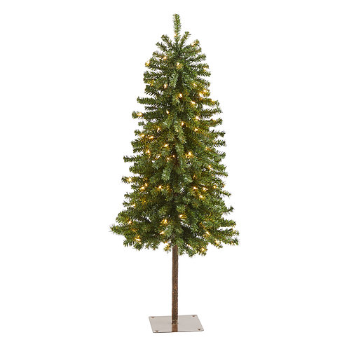 4' Alpine Artificial Christmas Tree with 100 Lights and 260 Bendable Branches