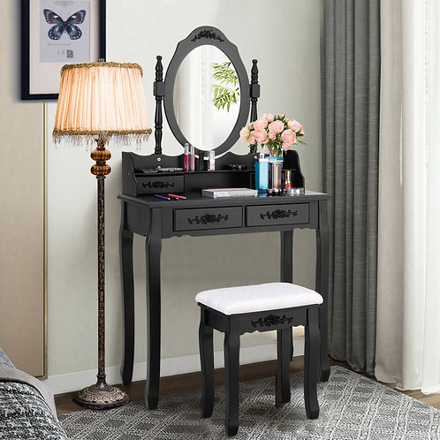 Vanity Table Set with Oval Mirror and 4 Drawers-Black