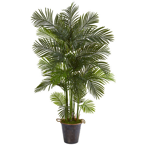 """75"""" Areca Palm Artificial Tree in Decorative Metal Pail with Rope"""