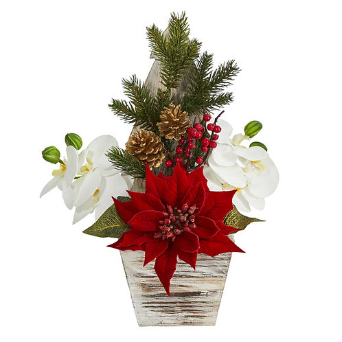 """15"""" Poinsettia and Orchid Artificial Arrangement in Christmas Tree Vase"""