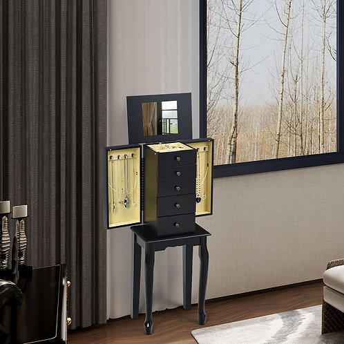 2 Colors Armoire Storage Standing Jewelry Cabinet with Mirror-Black