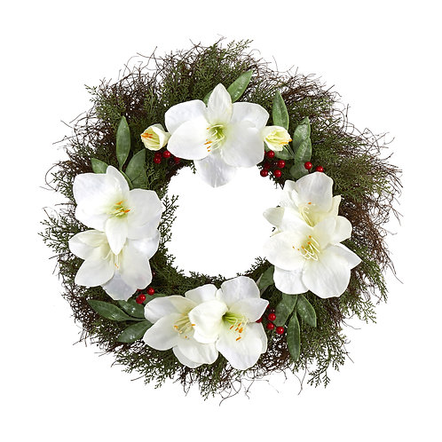 """20"""" Cedar, Amaryllis and Ruscus with Berries Artificial Wreath"""