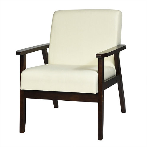 Solid Rubber Wood Fabric Accent Armchair-Beige