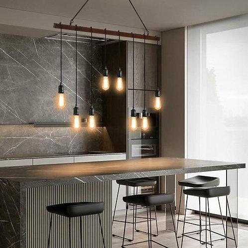 8-light Industrial Pendant Light Wood Hanging Chandelier Fixture