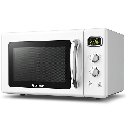 0.9 Cu.ft Retro Countertop Compact Microwave Oven-White