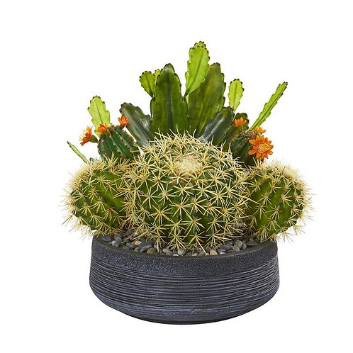 "16""  Mixed Cactus Artificial Plant in Decorative Bowl"