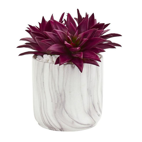 Agave Succulent Artificial Plant in Marble Finished Vase