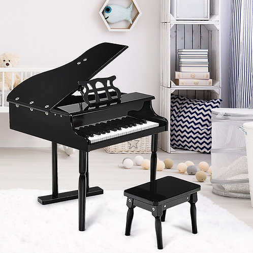 30-key Children Grand Piano with Bench -Black