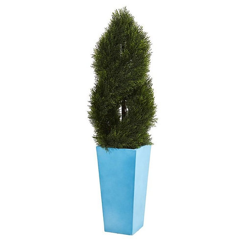 4.5' Double Pond Cypress Spiral Artificial Tree in Turquoise Planter