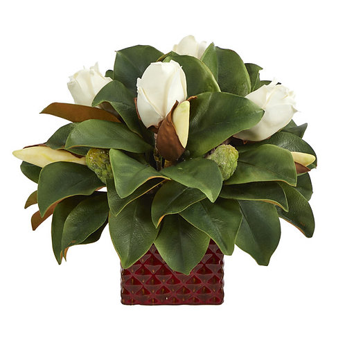 """13"""" Magnolia Bud Artificial Plant in Red Planter"""