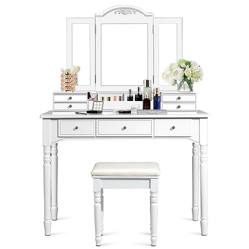 Vanity Tri-Folding Necklace Hooked Mirror Dressing Table Set with7 Drawers-White