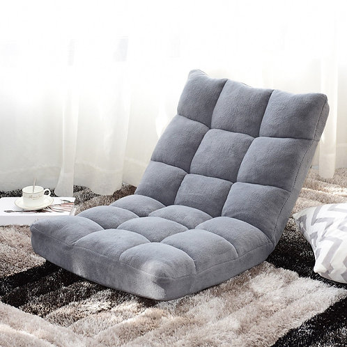 Adjustable 14-position Cushioned Floor Chair-Gray