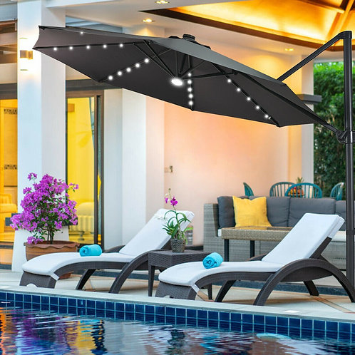 10 Ft Patio Offset Cantilever Umbrella with Solar Lights-Gray
