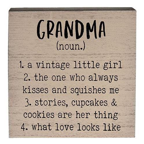 Grandma Definition Box Sign