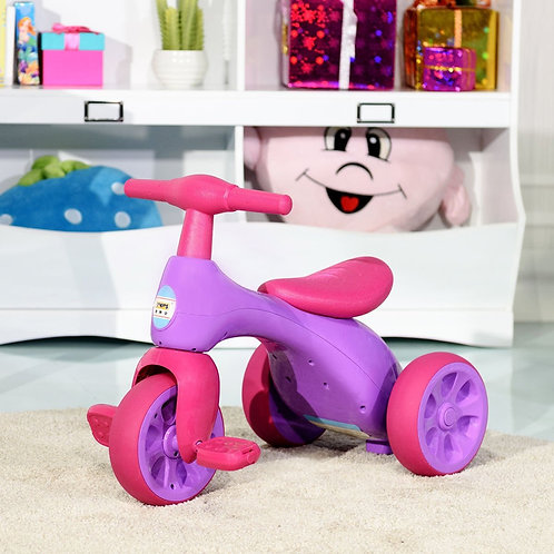 Toddler Tricycle Balance Bike Scooter Kids Riding Toys w/ Sound & Storage-Pink