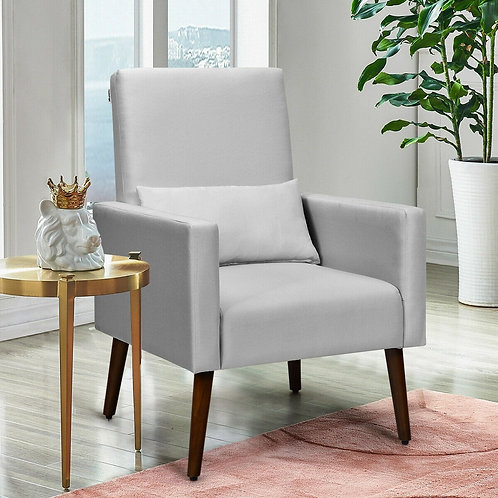 2-in-1 Fabric Upholstered Rocking Chair with Pillow-Light Gray