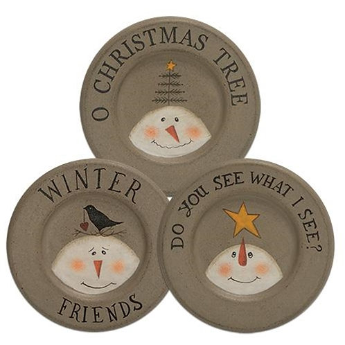 Pack of 4 O Christmas Tree Plate 3 Asst.