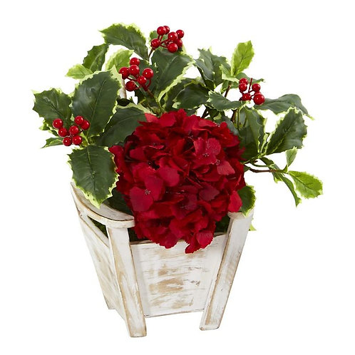 Hydrangea and Holly Leaf Artificial Arrangement in Chair Planter