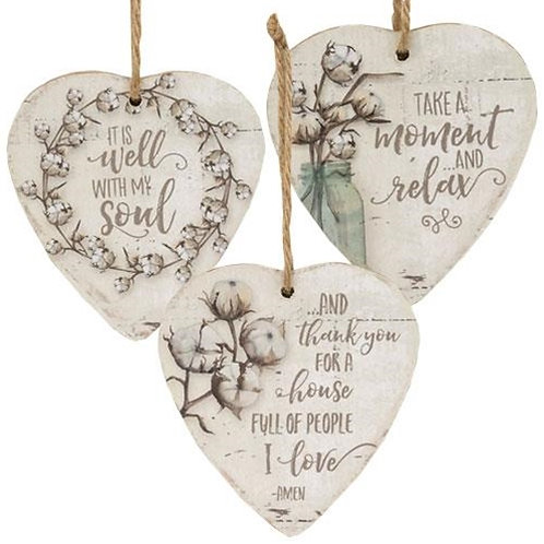 Pack of 2 3/Set Inspirational Heart Ornaments